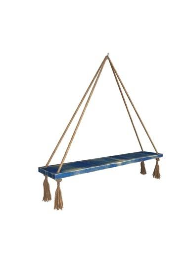 222 Concept Masif Ağaç Eskitme Mavi Renk 75x15 cm Halatlı Raf Mavi